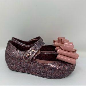 Mini Melissa glitter bow Mary Janes